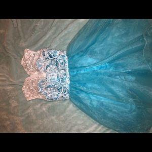 White and blue homecoming dress